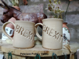 Replica brexit mugs by Peterson Pottery Studio with permission from Lee Catledge